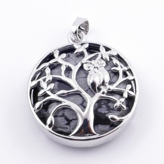 36979-24 FASHION JEWELLERY TREE OF LIFE 27 MM PENDANT WITH STONE IN SNOWFLAKE OBSIDIAN