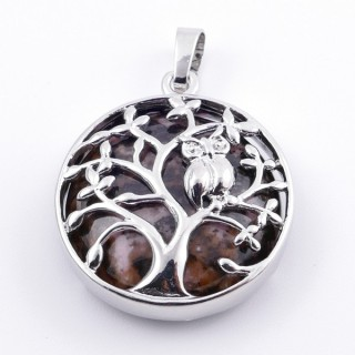 36979-26 FASHION JEWELLERY TREE OF LIFE 27 MM PENDANT WITH STONE IN RHODONITE