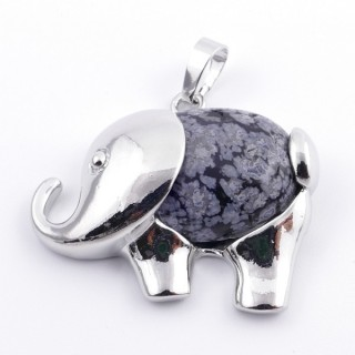 35803-24 FASHION JEWELLERY METAL PENDANT WITH STONE IN SNOWFLAKE OBSIDIAN