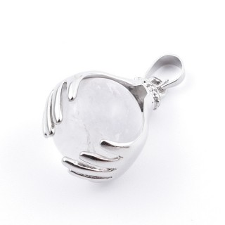36982-01 METAL HANDS PENDANT WITH 16 MM NATURAL WHITE QUARTZ MINERAL STONE