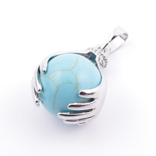 36982-03 METAL HANDS PENDANT WITH 16 MM NATURAL TURQUOISE MINERAL STONE