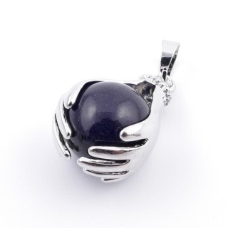 36982-04 METAL HANDS PENDANT WITH 16 MM NATURAL ONYX MINERAL STONE
