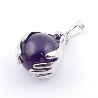 36982-05 METAL HANDS PENDANT WITH 16 MM NATURAL AMETHYST MINERAL STONE