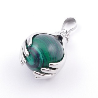 36982-06 METAL HANDS PENDANT WITH 16 MM NATURAL MALACHITE MINERAL STONE