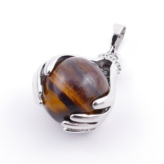 36982-09 METAL HANDS PENDANT WITH 16 MM NATURAL TIGER'S EYE MINERAL STONE