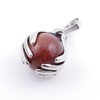 36982-10 METAL HANDS PENDANT WITH 16 MM NATURAL GOLD SANDSTONE MINERAL STONE