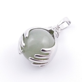 36982-12 METAL HANDS PENDANT WITH 16 MM NATURAL GREEN AVENTURINE MINERAL STONE