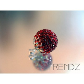 14846 RED 16 MM SILVER ZIRCON BALL PENDANT