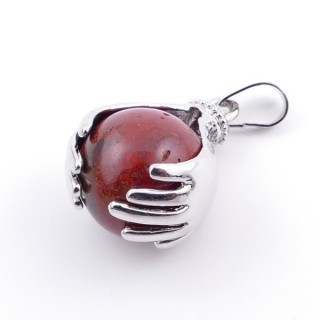 36982-15 METAL HANDS PENDANT WITH 16 MM NATURAL RED JASPER MINERAL STONE