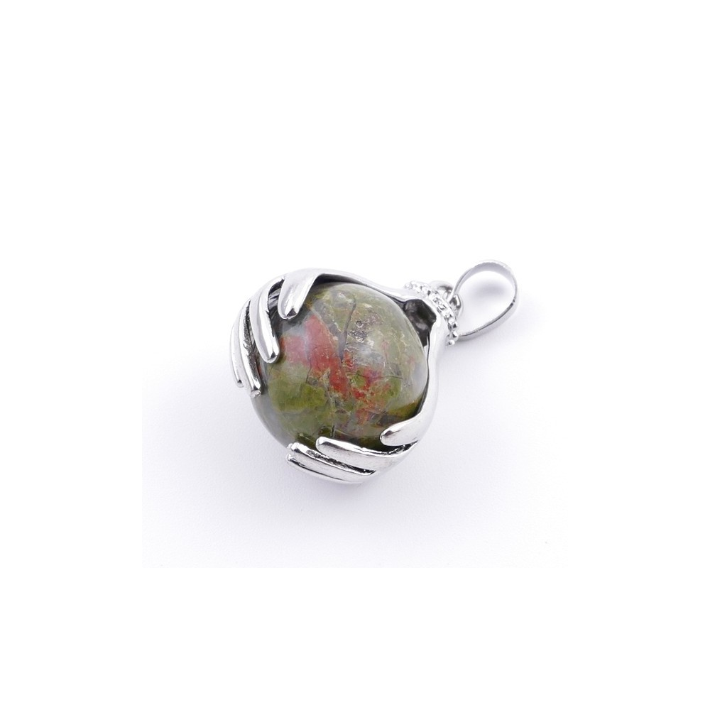 36982-20 METAL HANDS PENDANT WITH 16 MM NATURAL UNAKITE MINERAL STONE