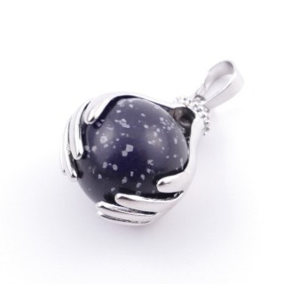 36982-24 METAL HANDS PENDANT WITH 16 MM NATURAL SNOWFLAKE OBSIDIAN MINERAL STONE