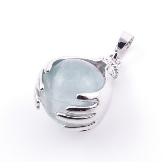 36982-25 METAL HANDS PENDANT WITH 16 MM NATURAL FLUORITE MINERAL STONE