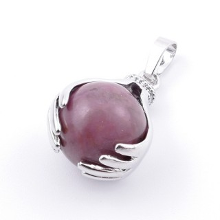 36982-26 METAL HANDS PENDANT WITH 16 MM NATURAL RHODONITE MINERAL STONE