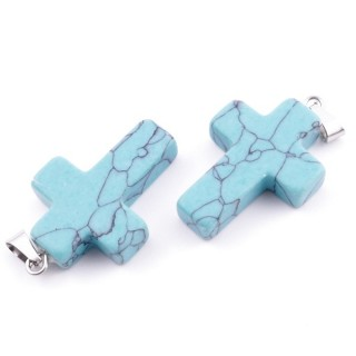33742-17 PACK OF 2 CROSS SHAPED 25 X 18 MM STONE PENDANTS IN TURQUOISE