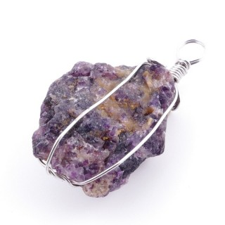 36986-03 AMETHYST PENDANT MADE WITH FASHION JEWELRY WIRE APPROXIMATELY 3 CM