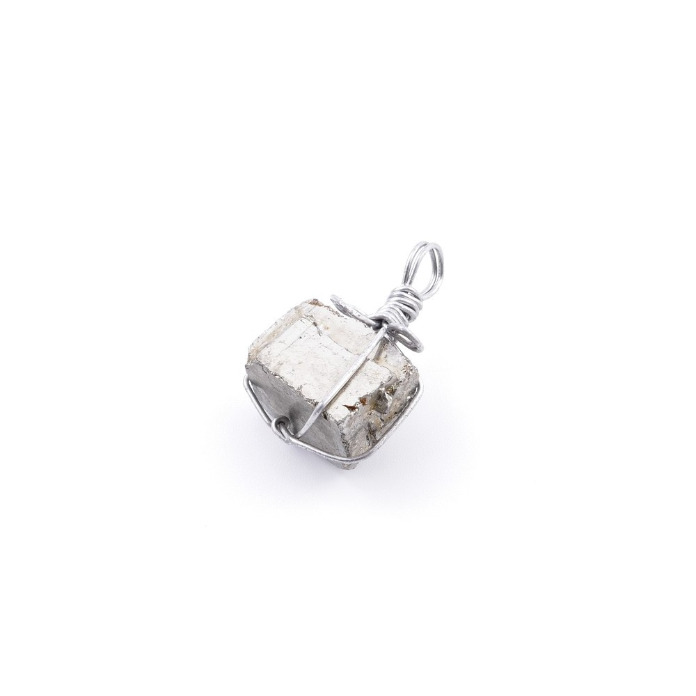 36989 PYRITE PENDANT MADE WITH FASHION JEWELRY WIRE APPROXIMATELY 2 CM