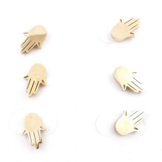 31203-45 PACK OF 3 PAIRS OF IDENTICAL GOLDEN COLOURED STAINLESS STEEL EARRINGS