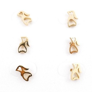 31203-46 PACK OF 3 PAIRS OF IDENTICAL GOLDEN COLOURED STAINLESS STEEL EARRINGS