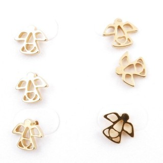 31203-47 PACK OF 3 PAIRS OF IDENTICAL GOLDEN COLOURED STAINLESS STEEL EARRINGS