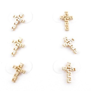 31203-48 PACK OF 3 PAIRS OF IDENTICAL GOLDEN COLOURED STAINLESS STEEL EARRINGS