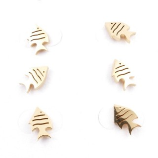 31203-52 PACK OF 3 PAIRS OF IDENTICAL GOLDEN COLOURED STAINLESS STEEL EARRINGS
