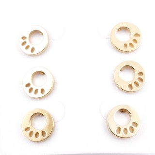 31203-54 PACK OF 3 PAIRS OF IDENTICAL GOLDEN COLOURED STAINLESS STEEL EARRINGS