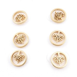 31203-56 PACK OF 3 PAIRS OF IDENTICAL GOLDEN COLOURED STAINLESS STEEL EARRINGS