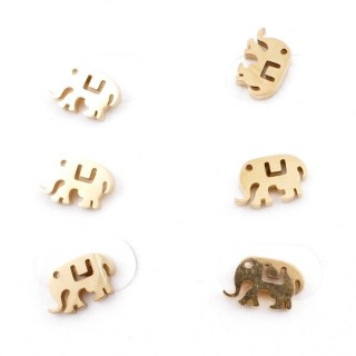 31203-57 PACK OF 3 PAIRS OF IDENTICAL GOLDEN COLOURED STAINLESS STEEL EARRINGS