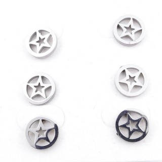 31202-92 PACK OF 3 PAIRS OF IDENTICAL STAINLESS STEEL EARRINGS