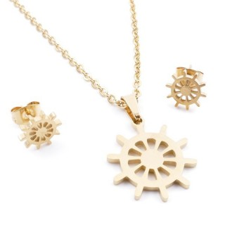 35585-19 SET OF CHAIN, PENDANT AND MATCHING EARRINGS IN STAINLESS STEEL