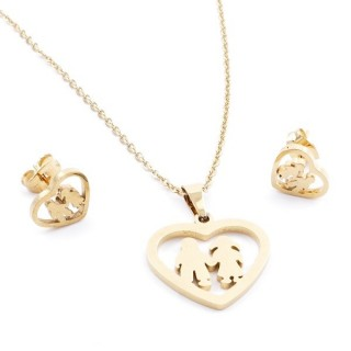 35585-33 SET OF CHAIN, PENDANT AND MATCHING EARRINGS IN STAINLESS STEEL