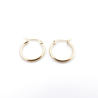 36801 GOLD COLOURED STAINLESS STEEL 15 MM HOOP EARRINGS