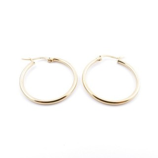 36803 GOLD COLOURED STAINLESS STEEL 25 MM HOOP EARRINGS