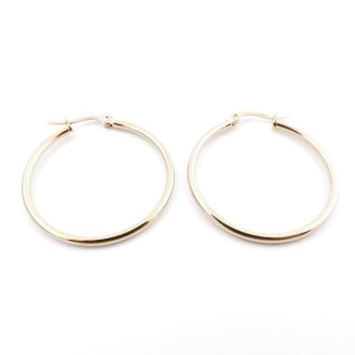 36804 GOLD COLOURED STAINLESS STEEL 30 MM HOOP EARRINGS