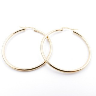36805 GOLD COLOURED STAINLESS STEEL 35 MM HOOP EARRINGS