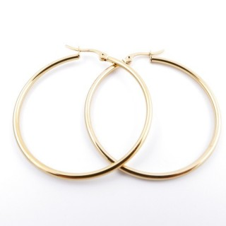 36806 GOLD COLOURED STAINLESS STEEL 40 MM HOOP EARRINGS
