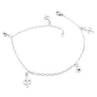 36807-01 STAINLESS STEEL 24 CM LONG CHARM ANKLETS