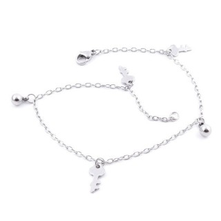 36807-13 STAINLESS STEEL 24 CM LONG CHARM  ANKLETS