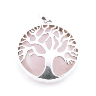 36700-01 SILVER 27 MM TREE OF LIFE PENDANT WITH ROSE QUARTZ