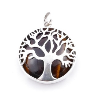 36700-02 SILVER 27 MM TREE OF LIFE PENDANT WITH TIGER'S EYE
