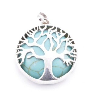 36700-03 SILVER 27 MM TREE OF LIFE PENDANT WITH TURQUOISE