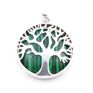 36700-04 SILVER 27 MM TREE OF LIFE PENDANT WITH MALACHITE