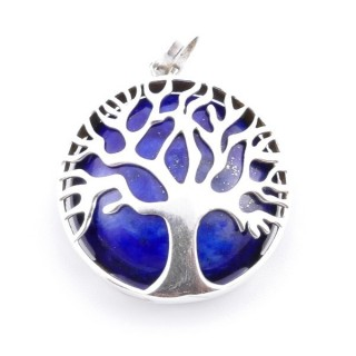 36700-05 SILVER 27 MM TREE OF LIFE PENDANT WITH LAPIS LAZULI