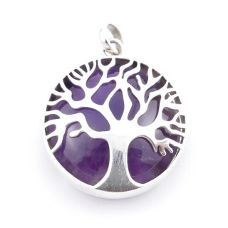 36700-06 SILVER 27 MM TREE OF LIFE PENDANT WITH AMETHYST