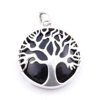 36700-07 SILVER 27 MM TREE OF LIFE PENDANT WITH ONYX