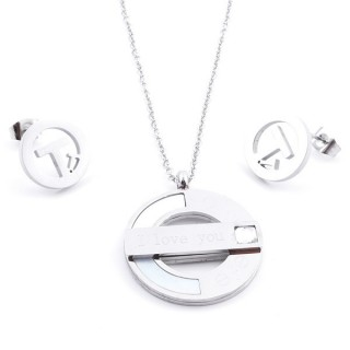 36962-09 SET OF STAINLESS STEEL EARRINGS AND MATCHING NECKLACE
