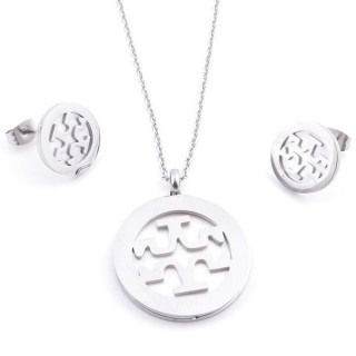 36962-10 SET OF STAINLESS STEEL EARRINGS AND MATCHING NECKLACE