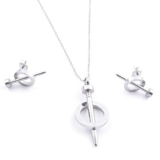 36962-03 SET OF STAINLESS STEEL EARRINGS AND MATCHING NECKLACE