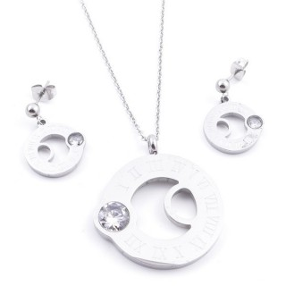 36962-04 SET OF STAINLESS STEEL EARRINGS AND MATCHING NECKLACE