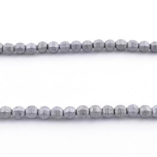 42633-04 STRING OF 100 4 MM FACETED WATERMELON SHAPED HEMATITE BEADS WITH TITANIUM FLASH